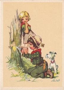 ► pohled - A. L. SALAČ - děti - láska - vyryté srdíčko - pejsek - E