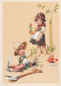 ► pohled - A. L. SALAČ - děti - láska - sázení stromku / kytičky - E