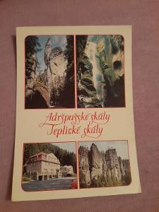 Pohlednice Adršpašské a Teplické skály,prošlé poštou
