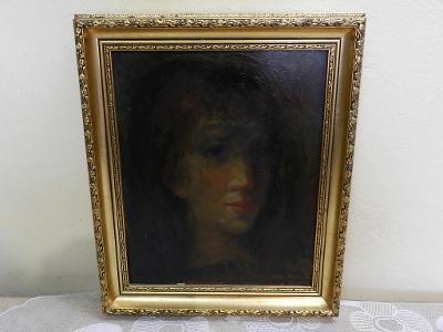 Zajímavý starý Obraz Portrét Dívky Jan Dostál
