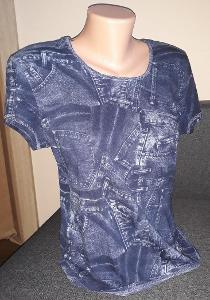 Modré dámské tričko vel. L