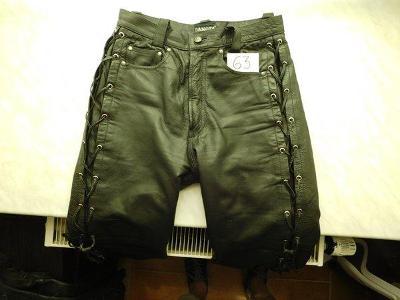 Kvalitní černé kožené kalhoty se šněrováním Dakota, pas 78 cm, č. 63