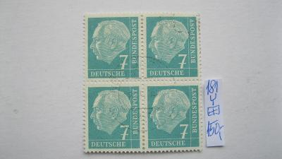 Německo BRD - razítkovaný čtyř blok známek katalogové číslo 181 Y