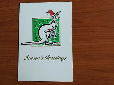 Rozevírací přáníčko klokan vánoční Vánoce Austrálie