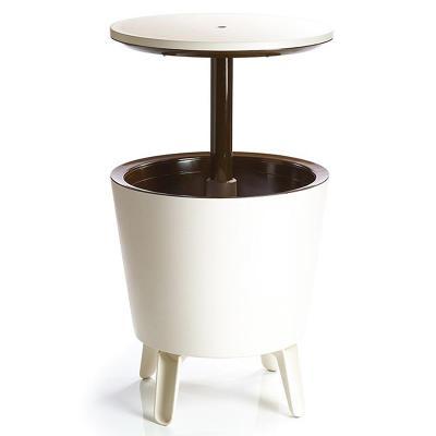 Zahradní bar Cool Bar 2v1, nápojový chladič a boční stolek - krémový