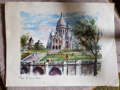 Starý tisk obrazu , malíř Arno