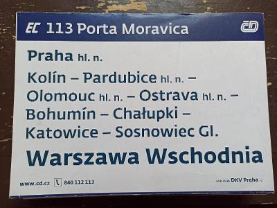 Směrová cedule - EC 113/110 PORTA MORAVICA - COMENIUS