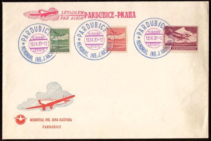 ČSR - OBÁLKA MEMORIAL ING. J. KAŠPARA, PARDUBICE 1937 (S2062) - Filatelie