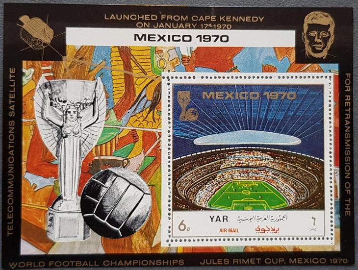 Jemen YAR 1970, MS fotbal Mexico 70, aršík s perforací - Filatelie
