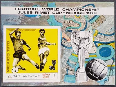Jemen YAR 1970, MS fotbal Mexico 70, aršík bez perforace, kat. 20 Euro