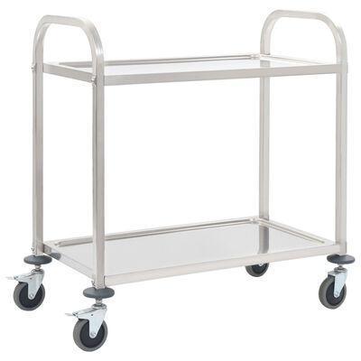 Kuchyňský, servírovací vozík 87 x 45 x 83,5 cm, nerezová ocel, 2 patra