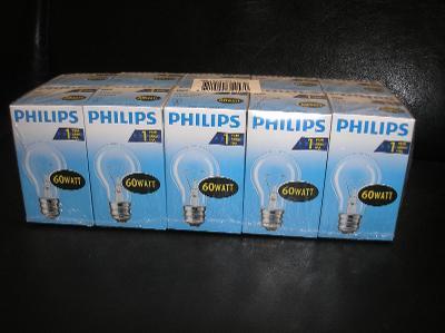 Žárovky PHILIPS 230V E27 60W, 10KS, NOVÉ