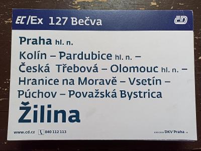 Směrová cedule EC/Ex 127-126 BEČVA
