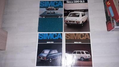 SIMCA 1100, 1100 GLS a modifikace - 4 ks dobových prospektů - krásné