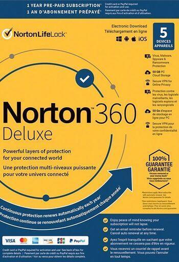 NORTON 360 DELUXE 5 ZAŘÍZENÍ NA 1 ROK + 50 GB + FAKTURA