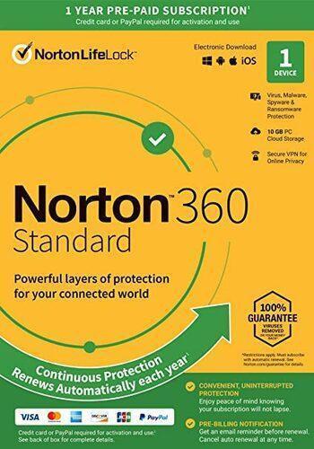 NORTON 360 STANDARD 1 ZAŘÍZENÍ NA 1 ROK + FAKTURA