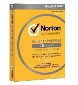 NORTON SECURITY PREMIUM 10 ZAŘÍZENÍ NA 1 ROK + FAKTURA