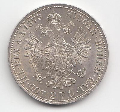 """Fr.J.I., 2 zlatník 1873, """"R"""" - vzácny ročník, mimoriadny stav TOP"""