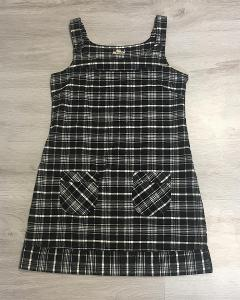 Černé kárované šaty s kapsami - vel.36/38, Multiblu- Top stav