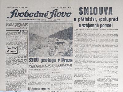Svobodné slovo 19.srpna. 1968
