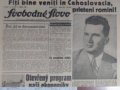 Svobodné slovo 15.srpna 1968