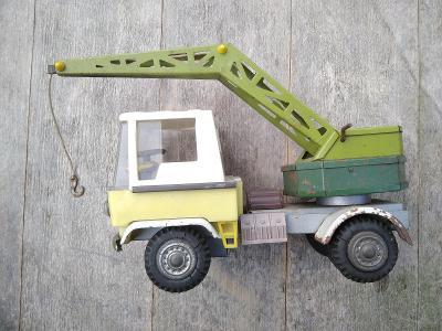 Retro hračka IGRA ITES SMĚR plechové auto nákladní jeřáb ŽUK ZBIK