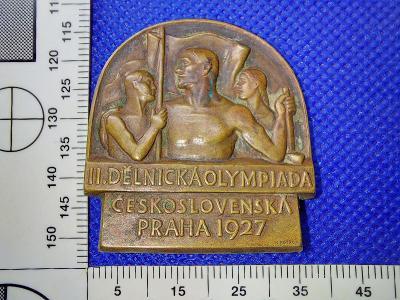 STARÝ ODZNAK II.DĚLNICKÁ OLYMPIÁDA PRAHA 1927 SIG. KOTRBA