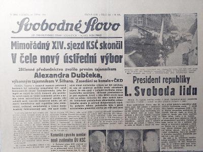 Svobodné slovo 24.srpna 1968