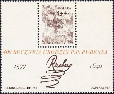 Polsko 1977 Známky Aršík Mi 67 ** Rubens umění malování