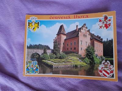 Pohlednice Červená Lhota - zámek,prošlé poštou