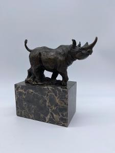 TOP-Luxusní bronzová socha Nosorožec-signovaná