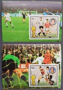 Fujeira 1973, MS fotbal 2x aršík bez perforace, kat. 17 Euro!