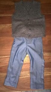 set tesilky kalhoty a pletená vestička vel. 104 (4roky)