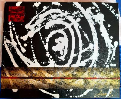 Abstraktní obraz - Mléčná dráha - 50 x 60 cm, akryl