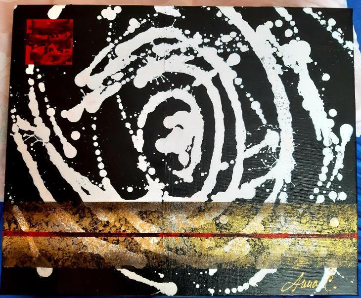 Abstraktní obraz - Mléčná dráha - 50 x 60 cm, akryl - Umění