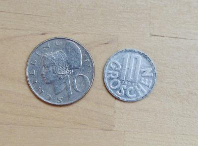 Rakouské groš a šiling mince