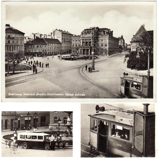 Bratislava divadlo tramvaj autobus - Pohlednice