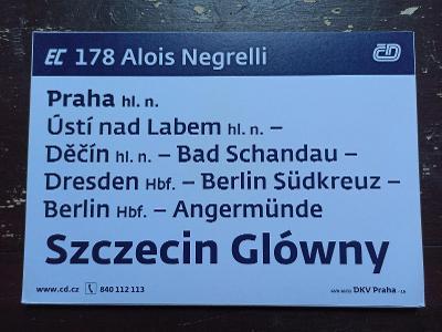 Směrová cedule EC 178/179 ALOIS NEGRELLI