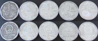Čína konvolut 1 Jiao 5 mincí