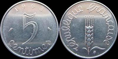 Francie 5 centimes 1963