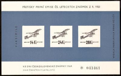 FAKSIMILE PŘETISKŮ 1. EMISE LETECKÝCH ZNÁMEK 1920 (S2123)