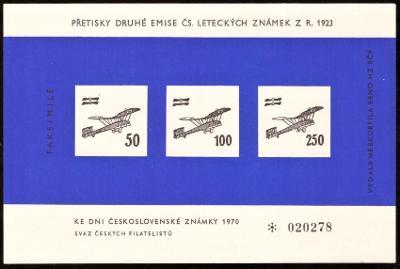 FAKSIMILE PŘETISKŮ 2. EMISE LETECKÝCH ZNÁMEK 1923 (S2124)