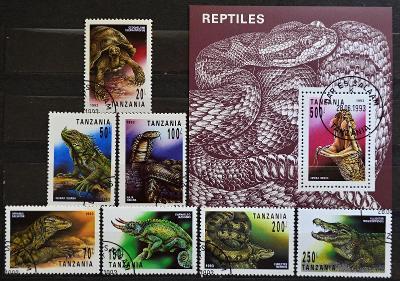 ==FAUNA-REPTILES=TANZANIA, 1993. Sc.1128-35, kompl.serie+ARŠIK / B-864
