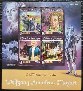 Svatý Tomáš 2016 Wolfgang Amadeus Mozart Mi# 6516-19 Kat 12€ 2203