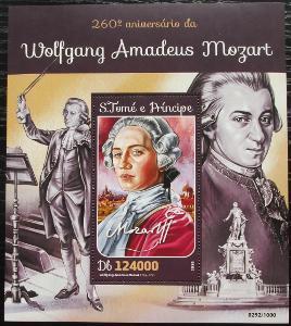 Svatý Tomáš 2016 Wolfgang Amadeus Mozart Mi# Block 1153 Kat 12€ 2203