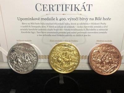 Sada 3 medailí vydaných u příležitosti 400. výročí bitvy na Bílé Hoře