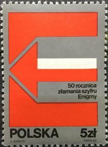 Polsko 1983 Známky Mi 2875 ** Druhá světová válka Enigma šifrování