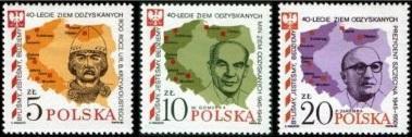 Polsko 1985 Známky Mi 2970-2972 ** Polská západní území mapa válka