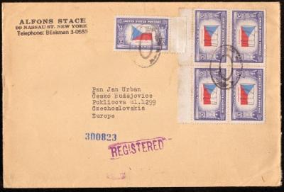 R-DOPIS Z USA DO ČSR I, ODESÍLATEL ALFONS STACH, 1946 (S2156)