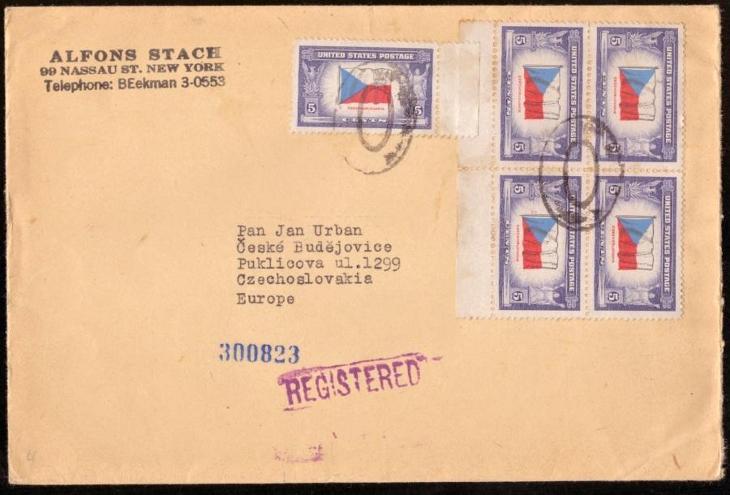 R-DOPIS Z USA DO ČSR I, ODESÍLATEL ALFONS STACH, 1946 (S2156) - Filatelie